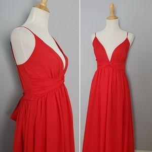 Lulu's Red Low Cut Maxi Dress Size Medium